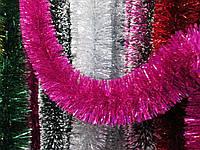 Мишура новогодняя, дождик малиновый,  диаметр 12 см,  длина 3 метра