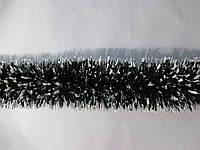 Мишура новогодняя, дождик зеленый с белыми перышками, диаметр 12 см, длина 3 метра