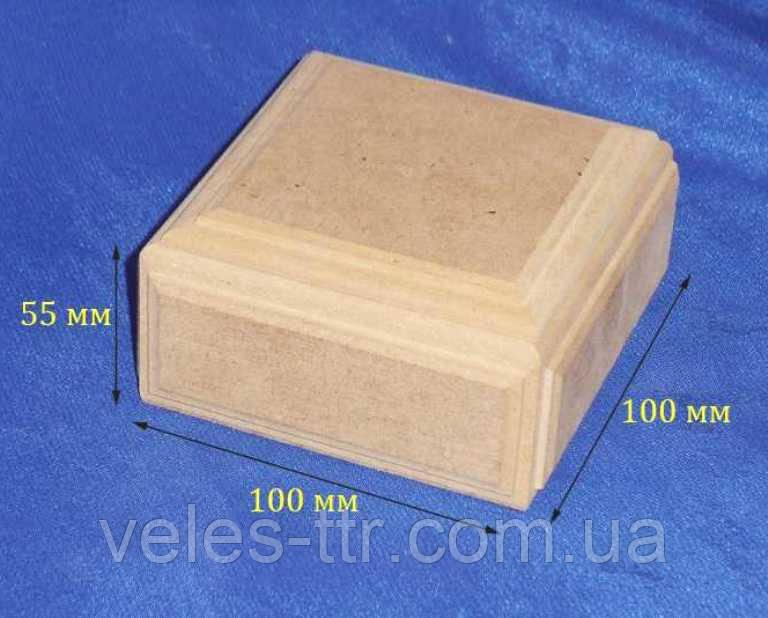 Квадратна скринька з бортиками без петель 10х10х5.5 мдф заготівля для декору