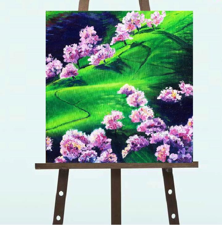 "Картина ""Цветущие Сакуры"", масляные краски (30*30"