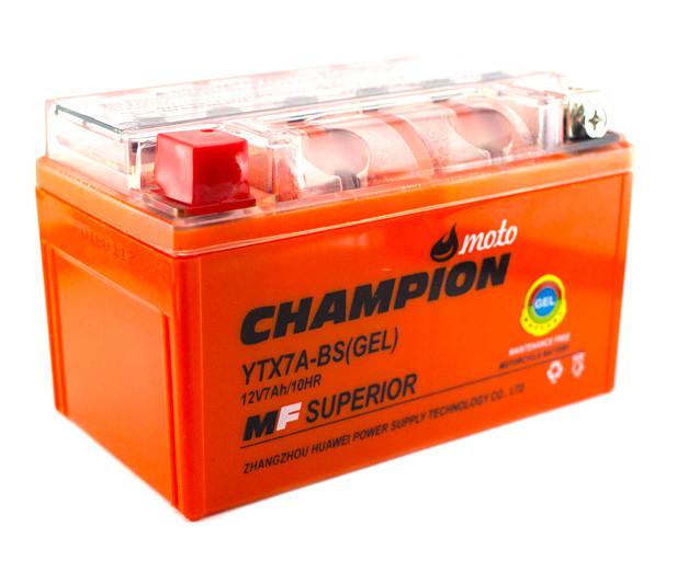 Мото аккумулятор Champion 7AH YTX7A-BS (1) GEL