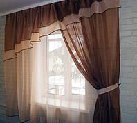 Шторы для кухни, балкона  №18 Коричневый с персиковым на карниз 2,5-4м