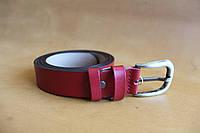 Женский ремень из натуральной кожи с пряжкой, ширина - 30 мм, цвет - красный, артикул СК 8041