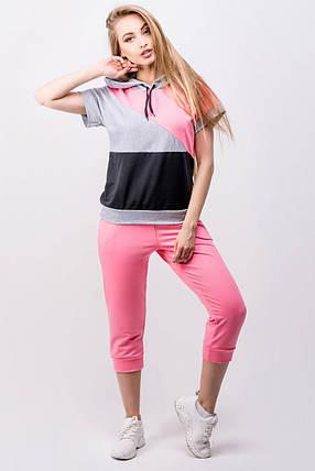 Женский летний спортивный костюм Илайя   размер 44-52   цвет розовый, фото 2 c522ff3acf2