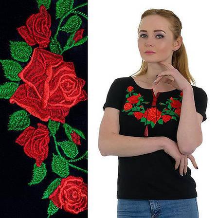 Футболка черного цвета с красочной вышивкой Розы, фото 2