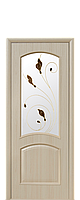Межкомнатная дверь  Антре ПВХ DeLuxe с матовым стеклом и рисунком, цвет ясень
