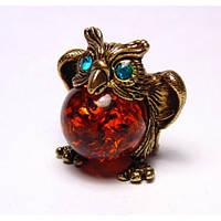 Фигурка сувенир из бронзы и янтаря Сова
