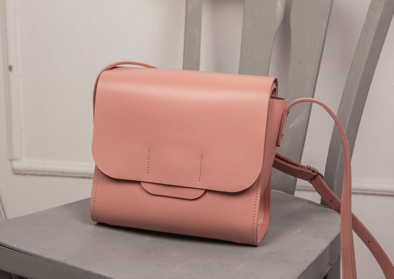 b196ded9fc05 Кожаная сумка NewBox, цвет розовый,цвет пудра, кожа Кайзер, ручная работа,