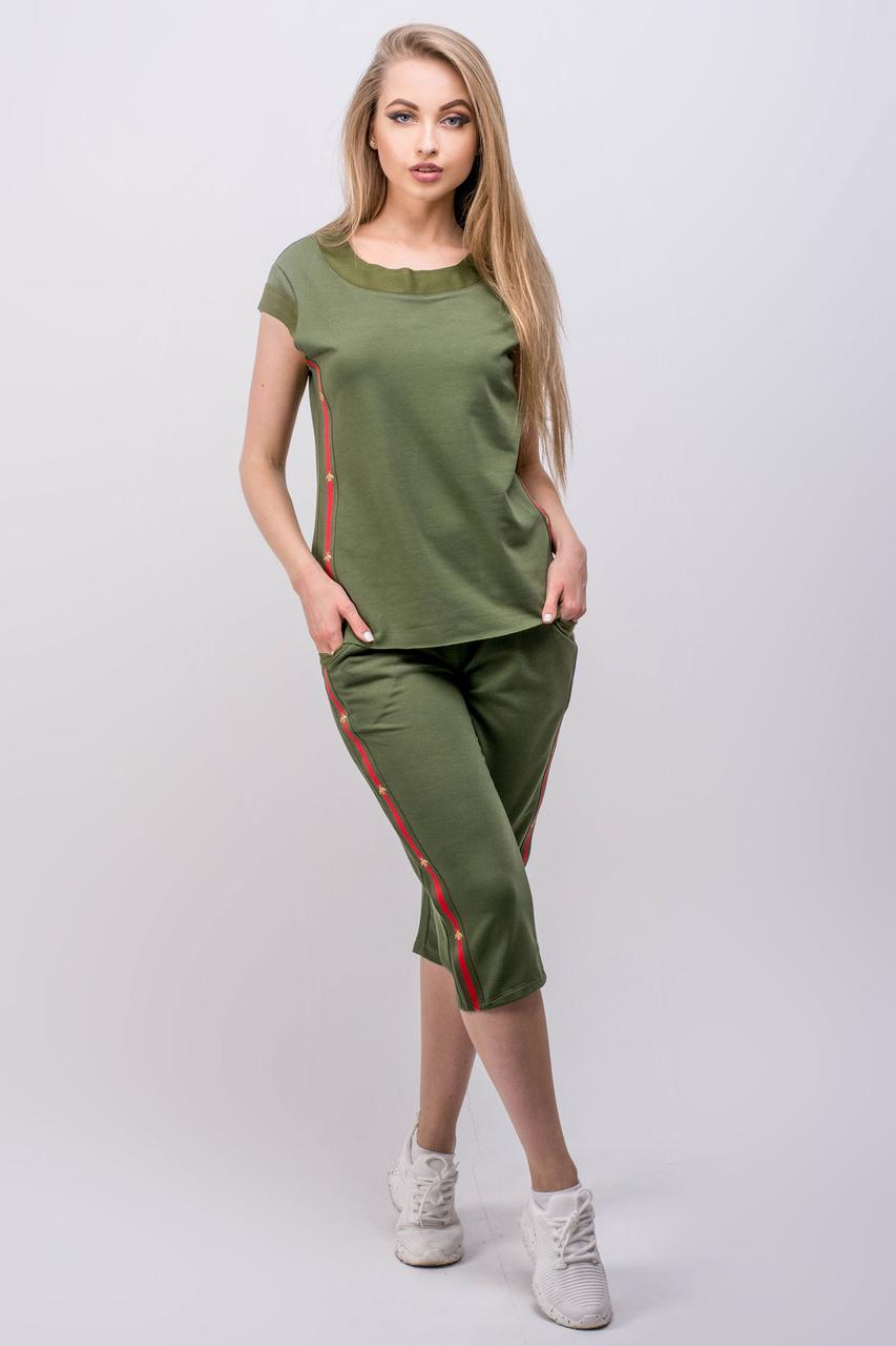 7f4bb9e757b Женский летний молодежный спортивный костюм Лайза   размер 44-52   цвет хаки