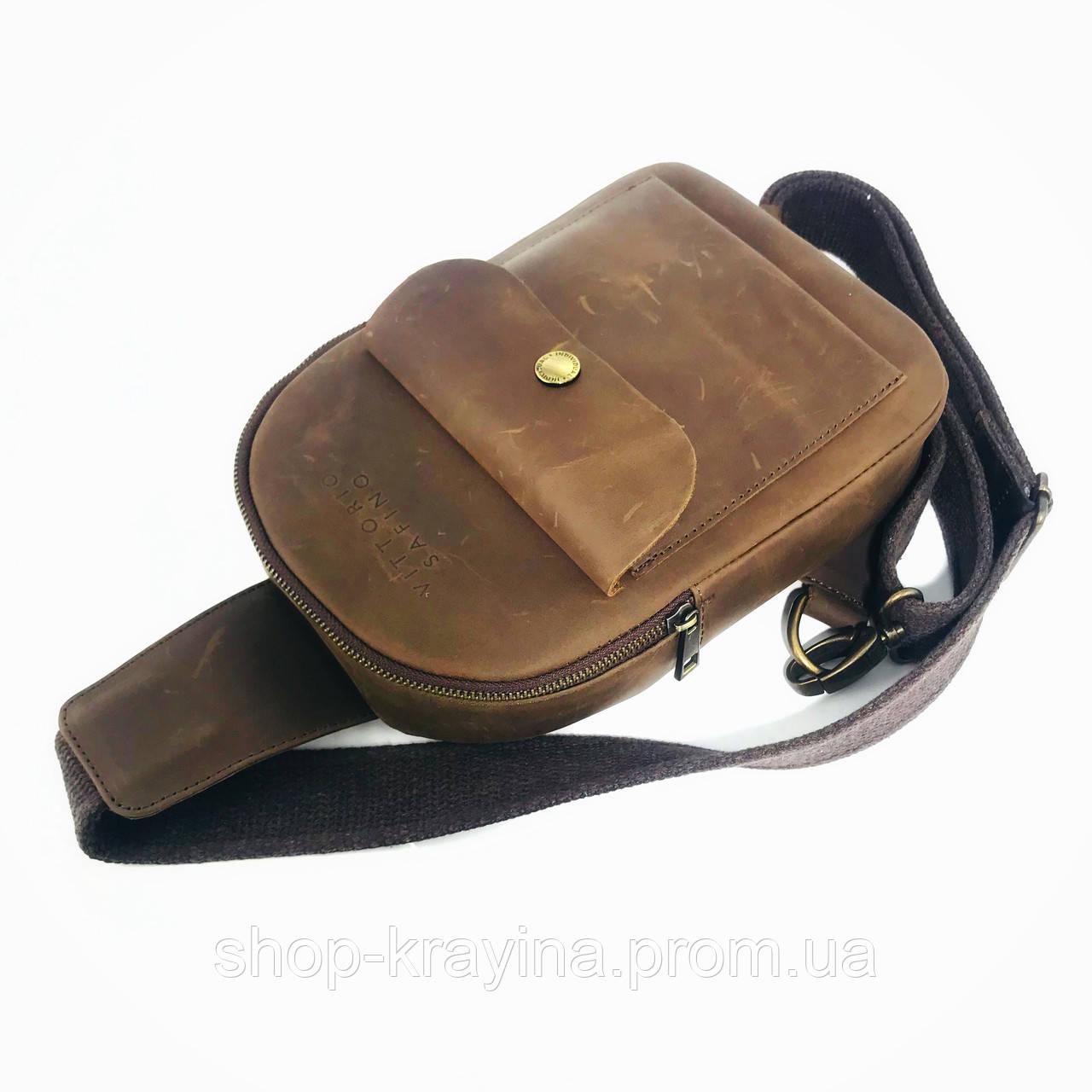 Мужская стильная сумка VS006 Crazy horse brown