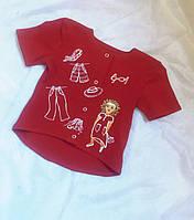 """Блуза футболка детская с ручной росписью """"Девочка и одежки"""" Блуза футболка дитяча довгий зад короткий перед"""