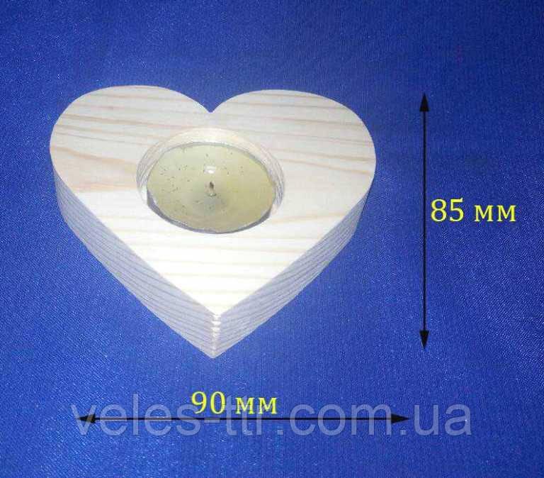Підсвічник Серце 9х8.5х2 см дерево заготівля для декору