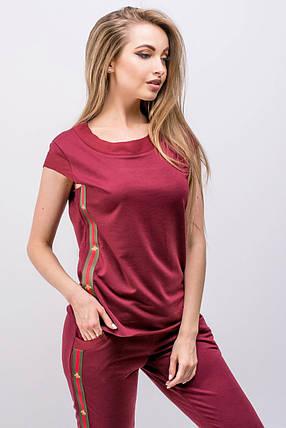 Женский летний молодежный спортивный костюм Лайза   размер 44-52   цвет  бордовый, фото 1fecf606660