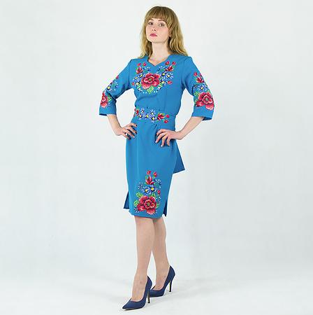 Мальва с васильками платье голубого цвета , фото 2