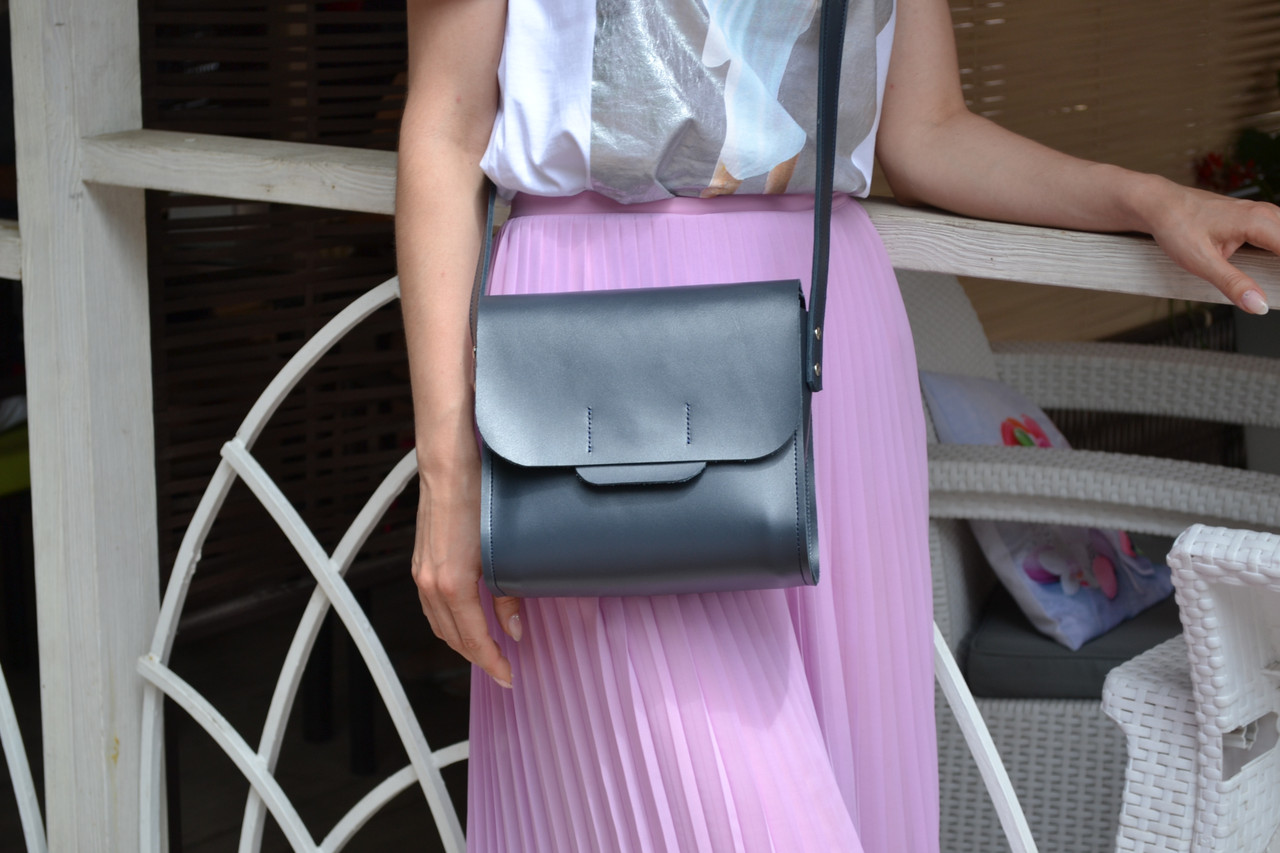 213ea851f884 Кожаная сумка NewBox, цвет темно-серый, графит кожа Кайзер, ручная работа,