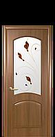 Межкомнатная дверь Антре  ПВХ DeLuxe с матовым стеклом и рисунком, цвет золотая ольха