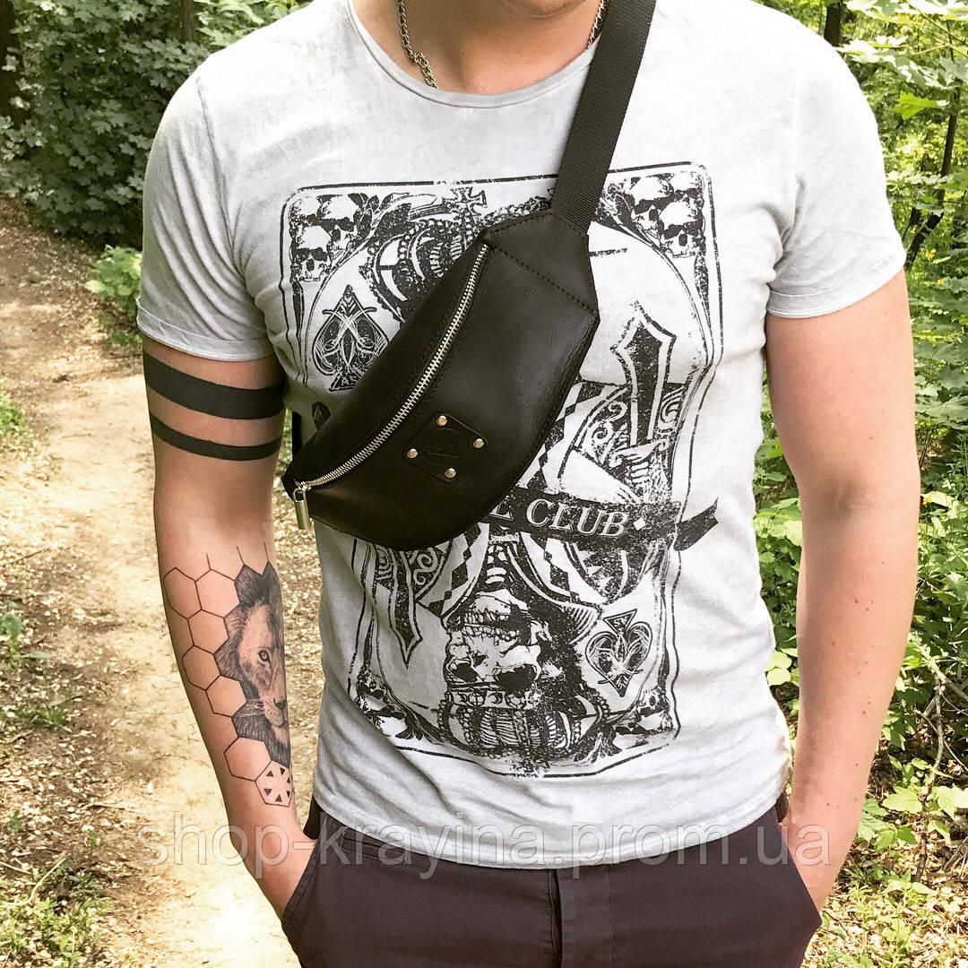 Мужская стильная сумка бананка VS00B leather B