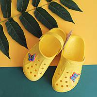 Детские желтые кроксы оптом для детей Crocs тм Vitaliya Украина р. 22-33, фото 1