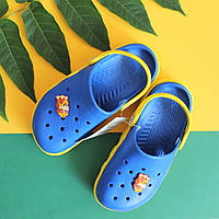 Оптом желто-синие кроксы для мальчика с супергероем тм Виталия Crocs р. 20- c22c466df47