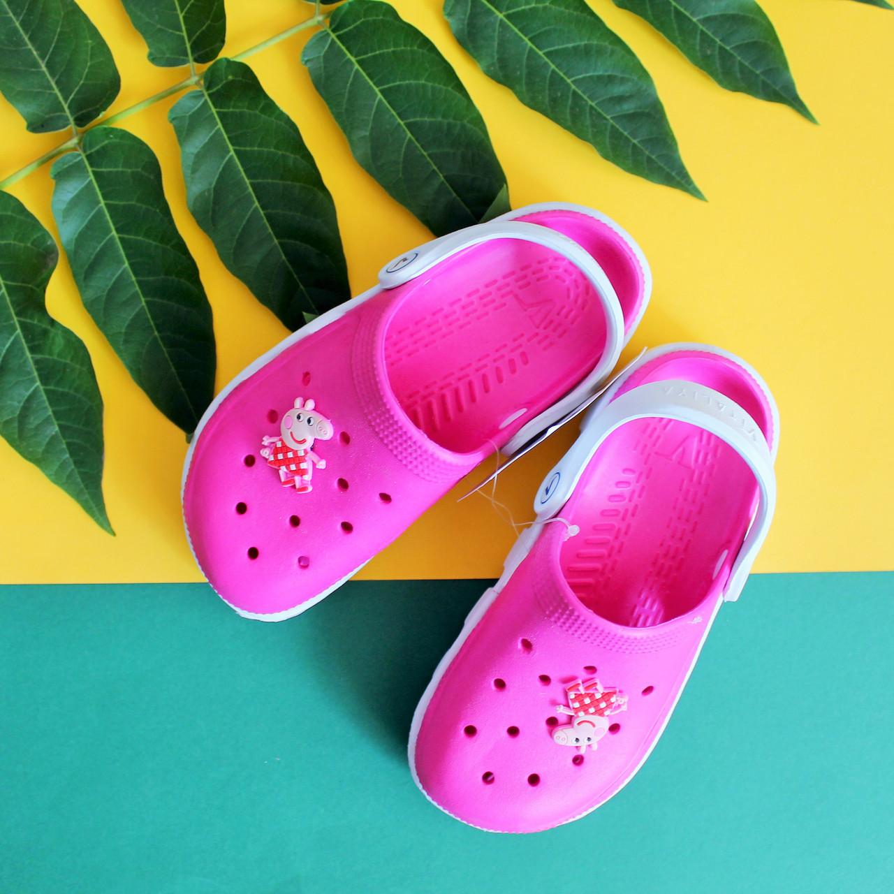 Детские двухцветные кроксы с мультгероями для девочки оптом Украина р. 20-31,5