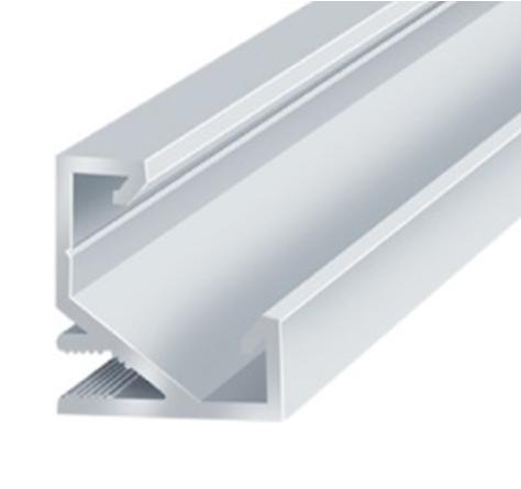 Анодированный алюминиевый угловой профиль для светодиодной ленты врезной 2м LEDLIGHT №20