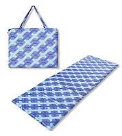 Коврик сумка трансформер Holiday на молнии (синий узор) (сумка килимок на блискавці)