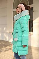 Бирюзовое зимнее пальто для девочки