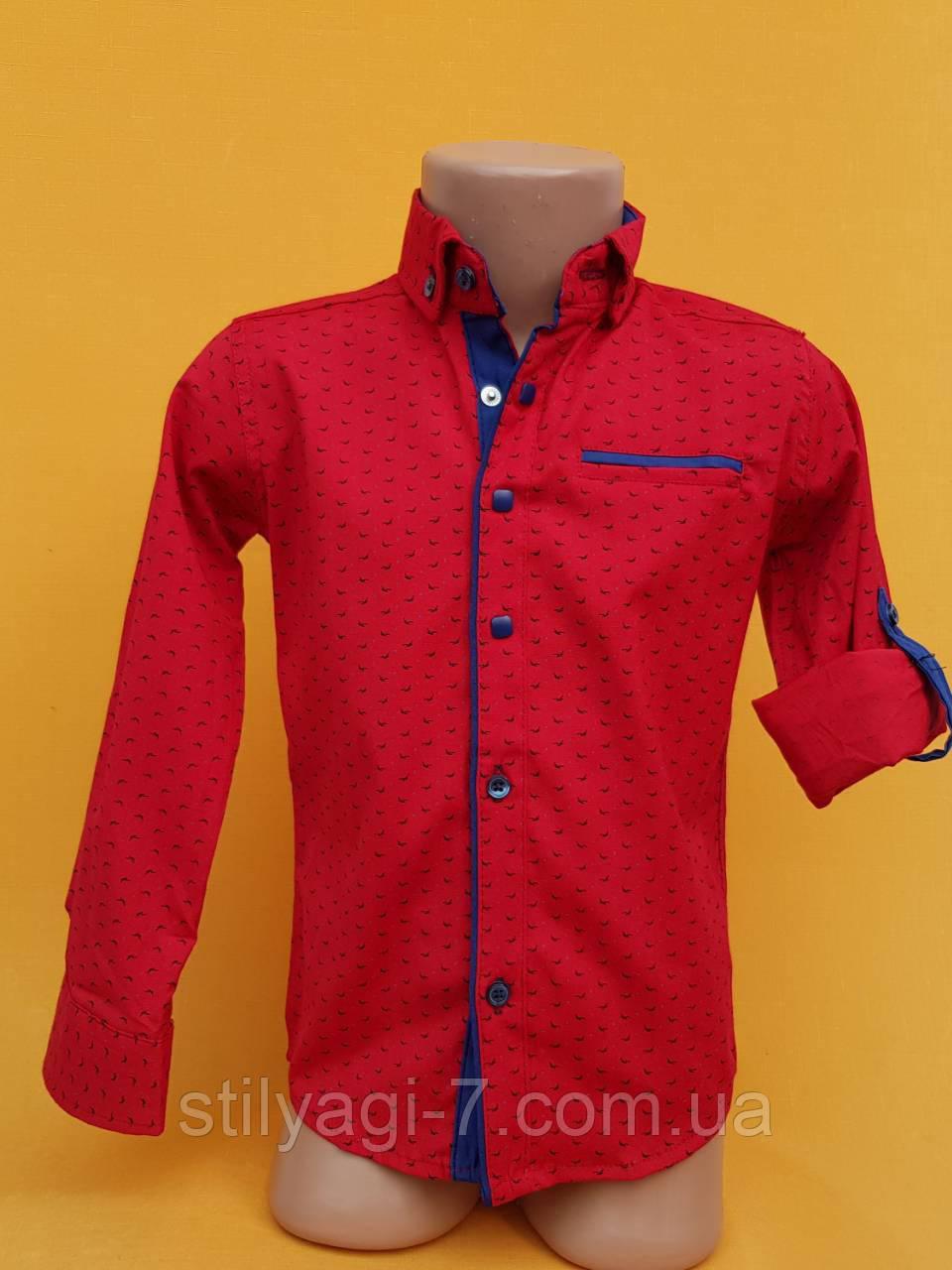 Рубашка на мальчика 6-11 лет красного цвета с окантовкой с длинным рукавом оптом