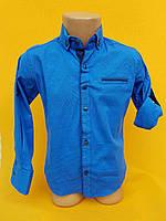 Рубашка на мальчика 6-11 лет ярко синего цвета с окантовкой с длинным рукавом оптом