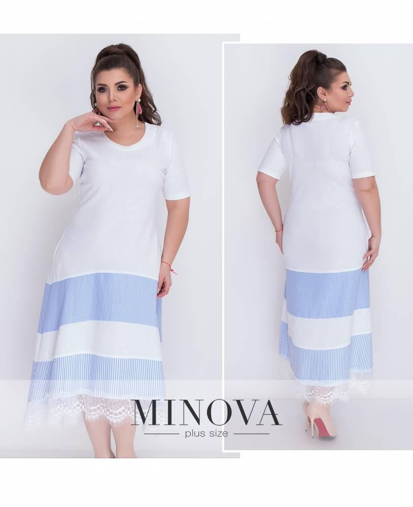 Платье макси ассиметрия белое с полосами розовый голубой синий 48-64 большие размеры