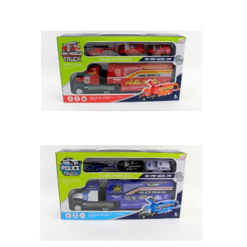 Машинка Трейлер 30 см, инерционный, с машинками 2 шт и вертолетом, 2 вида (полиция, пожарная) TH8527-29