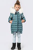 Теплая зимняя куртка для девочки с меховым капюшоном