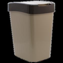 Ведро для мусора Евро 45 л кремовый - темно-коричневый