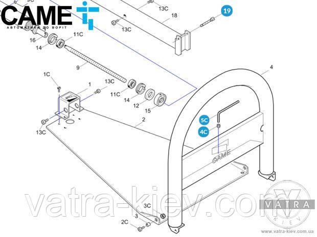 Шпилька безопасности Came Unip 119riu011 купить цена