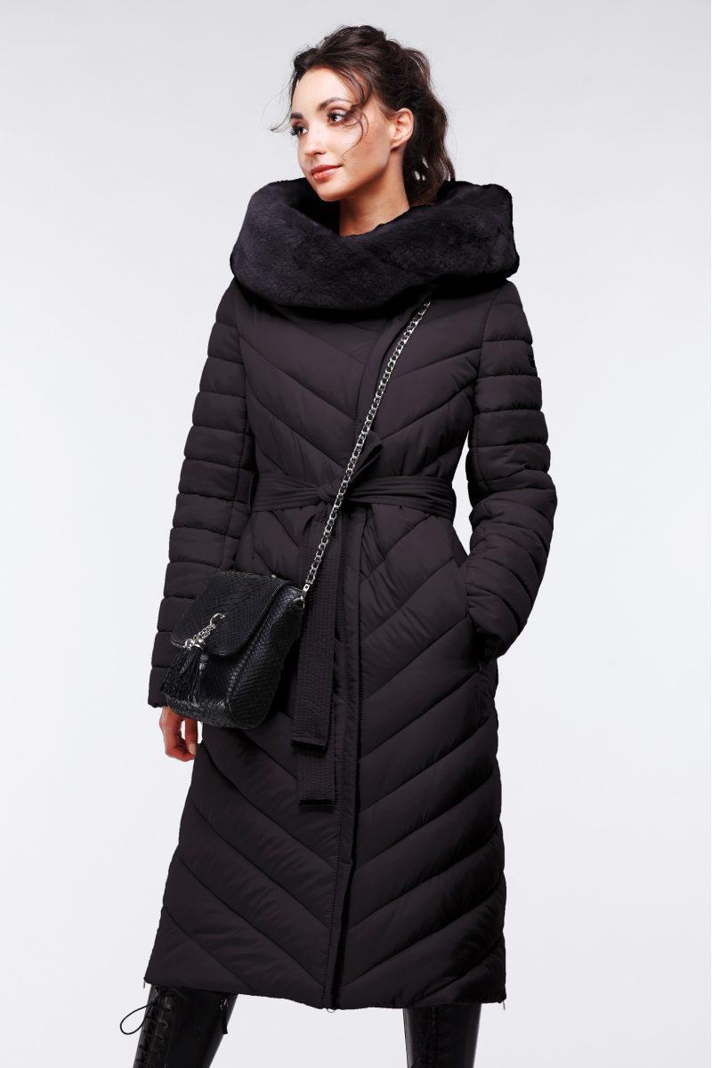 Модное зимние пальто с ассиметричной застежкой