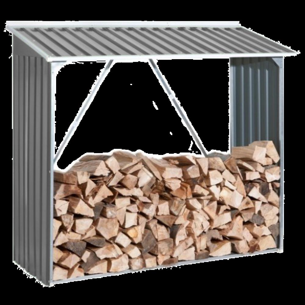 Накрытие для дров металлическое серый с белым