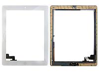 Тачскрин (сенсорное стекло) для Apple iPad 2 (белый цвет, с кнопкой Home, самоклейка)