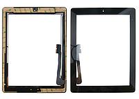 Тачскрин / сенсор (сенсорное стекло) для Apple Ipad 3   Ipad 4 (черный цвет, с кнопкой Home, самоклейка)
