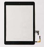 Тачскрин / сенсор (сенсорное стекло) для Apple iPad Air | iPad 5 (черный цвет, с кнопкой Home, самоклейка)