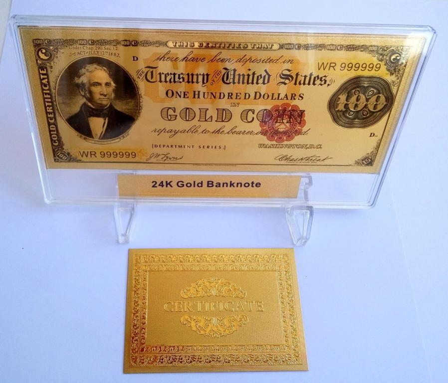 Золотая банкнота 100 долларов США 1882 г. с подставкой+сертификат.