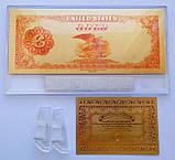 Золотая банкнота 100 долларов США 1882 г. с подставкой+сертификат., фото 3