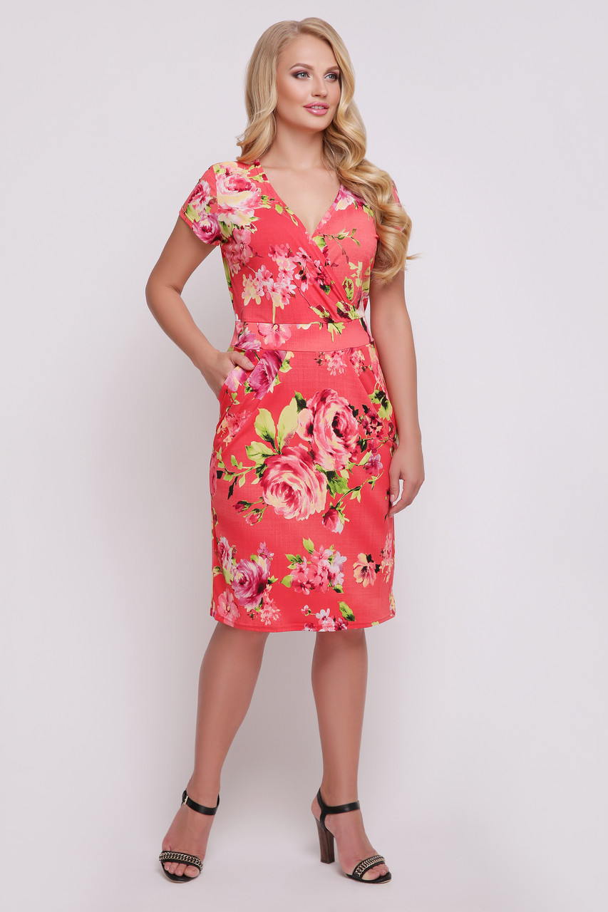 Платье Неонила 50-58 коралл