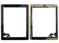 Тачскрин (сенсорное стекло) для Apple iPad 2 (черный цвет, с кнопкой Home, самоклейка)