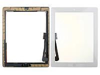 Тачскрин / сенсор (сенсорное стекло) для Apple Ipad 3 | Ipad 4 (белый цвет, с кнопкой Home, самоклейка)