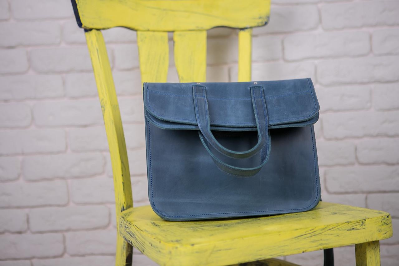 03e98d40efb9 ... Кожаная сумка, BEND, цвет голубой кожа Крейзи Хорс ручная работа, ...