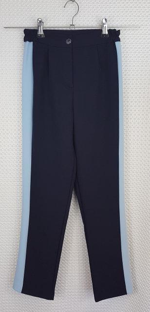Брюки для девочки темно-синие+голубой лампас р.134-152