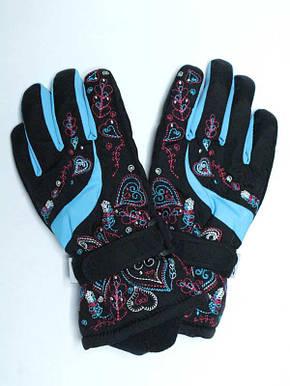 Детские зимние термоперчатки для девочки 8-12 лет черные, фото 2