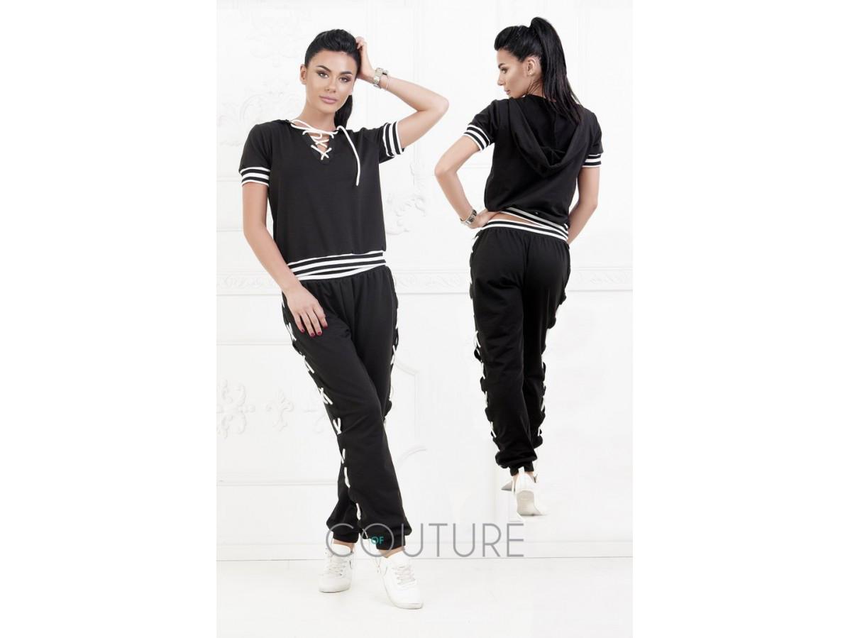 Женский черный спортивный костюм с шнуровкой 23415 купить в интернет ... 87b7502311e