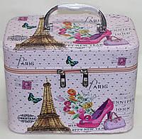 Большая косметичка-чемоданчик, розовая, Париж, фото 1