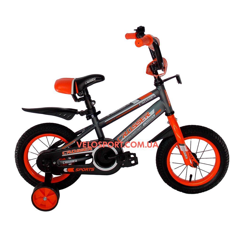 Детский велосипед Crosser Sports 12 дюймов серо-оранжевый